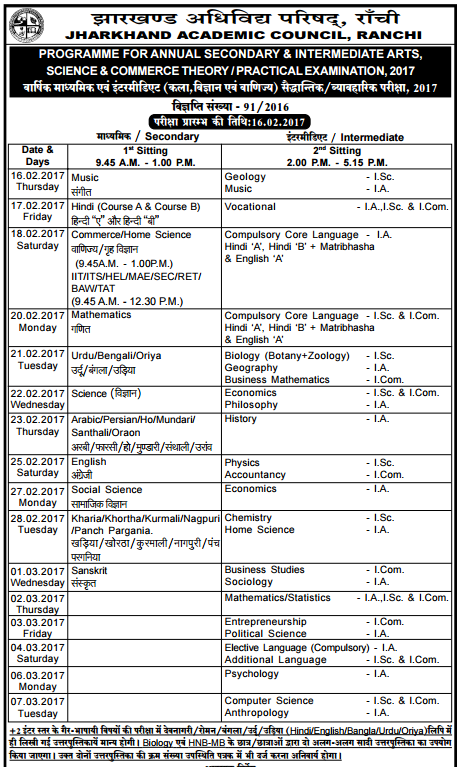 JAC 10th Date Sheet 2018, Jharkhand Board Matric Time ...